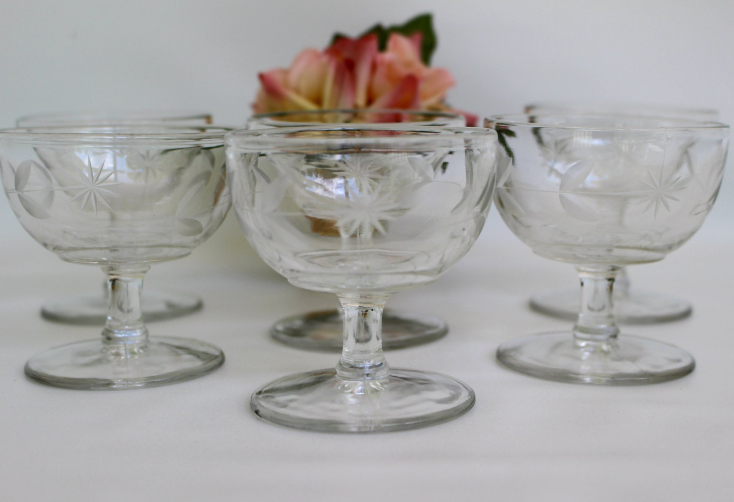 Set of 6 footed sherbet glass cups vintage cut starburst - Starburst glassware ...