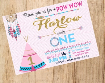 Tribal First  Birthday Chalkboard, Pow Wow Invitation. Natural Colors, Feather and Arrow, Tribal Invitation, dream catcher, Boho, Boho Chic,