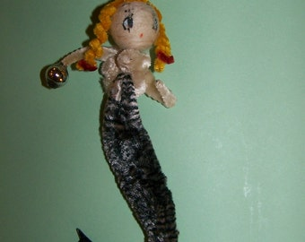 "Vintage  Chenille  MERMAID  Spun Cotton Figurine----5 "" Long"
