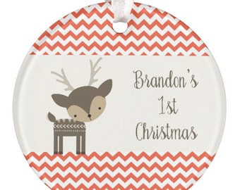 Christmas Ornament, Personalized Baby Christmas Ornament, Baby Gift, 1st Christmas Ornament, Deer Ornament, Baby Shower Gift, RyElle