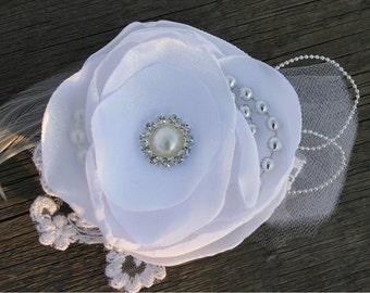 White Bridal Hair Flower, Wedding Hair Clip