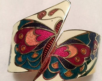 Cloissone hinged cuff bracelet with butterfly design