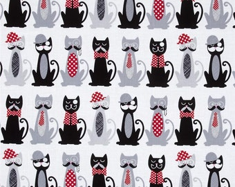 Cats With Mustaches All In A Row Timeless Treasures Fabric 1/2 Yard