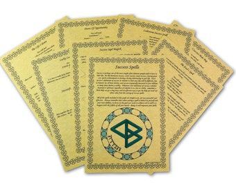 13 SUCCESS Spells BOOK Of SHADOWS Page Set wicca print parchment spell bos money book of shadows page set A4