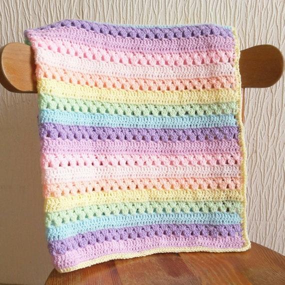 Pastel Rainbow Crochet Blanket