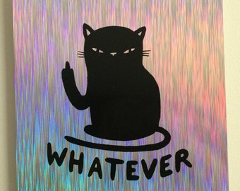 Holographic cattitude poster