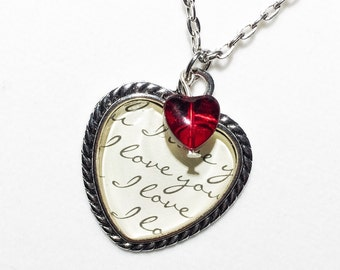 Love necklace I love you love pendant Valentine's Day valentine gift valentine  jewelry heart necklace