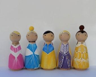 Customized Handpainted Wooden Peg Dolls