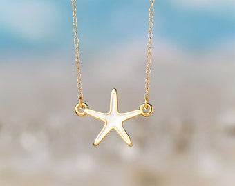 Small Starfish Necklace Enamel White Necklace Beach Jewelry Everyday jewelry Layering necklace Rose Gold  Necklace Birthday gift for her