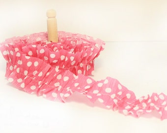 Pink and White Polka Dot Crepe Paper Ruffles, (1) One Yard
