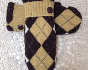 Upcycled recycled wool mittens-gold brown and off white argyle pattern -felted wool mittens made from sweaters