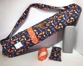 Deluxe Yoga Mat Carrier with Pocket, mat strap & FREE lavender eye pillow, SQUIRRELS, dark blue, yoga mat bag, yoga tote, yoga accessories