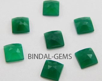 25 Pieces Beautiful Wholesale Lot Green Onyx Square Shape Rose Cut Loose Gemstone For Jewelry