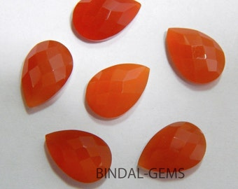 Wholesale Lot 10 Pieces Amazing Red Onyx Pear Shape Checker Cut Gemstone For Jewelry