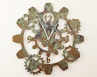 Gear Wall Clock - Steampunk Clock - Tarnished Bronze Finish