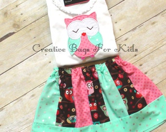 Owl Outfit/ Owl skirt and shirt set/ Personalized Owl Skirt set