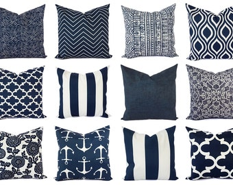 OUTDOOR Pillow - Navy and White Pillow Cover - Navy Blue Throw Pillow Cover - Navy Euro Sham - Decorative Pillow - Blue Patio Pillows