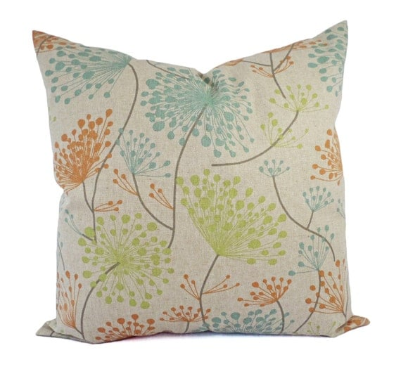 Throw Pillows Green And Blue : Orange Green and Blue Decorative Pillow Covers Two Floral