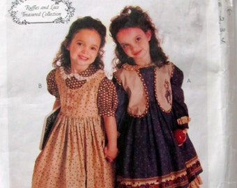 Girl's Ruffles and Lace Long Primitive Dresses Sewing Pattern, McCalls 8426, Girls Sizes 2, 3 and 4, Uncut, Circa 1996