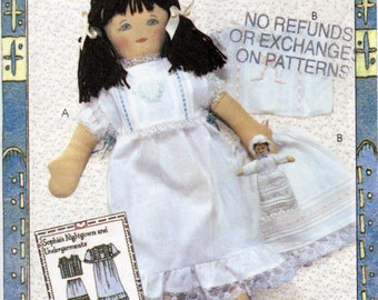 Ragtime Dolls Sewing Pattern, 18 Inch Sophie Doll , Doll Clothes Pattern, Nightgown,Doll Toy Doll ,Petticoat and Chemise, McCalls 4268