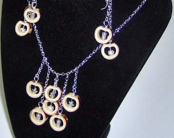 HandCraft Bamboo/Wood Earrings and Necklace Set Dangle Chandelier Natural Bamboo with Silver Plate Garnish
