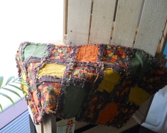 Rag Quilt table runner fall autumn leaf leaves orange brown green yellow quilted