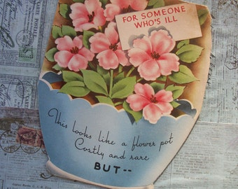 Vintage 1940s Get Well Greeting Card - Used, Without Envelope.