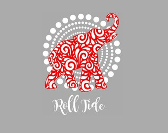 Alabama Roll Tide Elephant on circle background SVG Studio Eps Pdf PNG cutting file