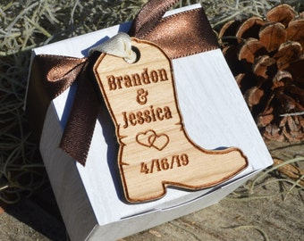 Personalized Hardwood Boot Favor Tags, Custom Engraved Wooden Party Favor Tags