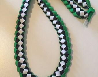Graduation Lei - Ribbon Lei - Green, Black, White - READY TO SHIP