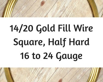 14/20 Gold Filled Wire, Square Gold Wire, Half Hard, 16 Gauge, 18 Gauge, 20 Gauge, 21 Gauge, 22 Gauge, 24 Gauge, Gold Square Wire