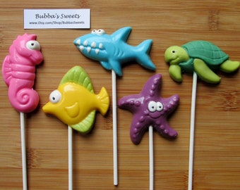 UNDER THE SEA Chocolate Pops (12) - Under the Sea Birthday/Mermaid Party/Seahorse Favors