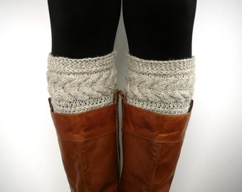Oatmeal knit boot socks, boot cuffs, boot toppers, leg warmers