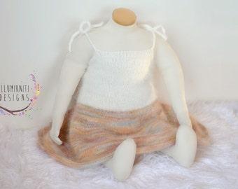 Sitter Dress Photography Prop - 9-12 Months Sitter Angora Prop - Baby Angora Dress - White Angora - Pinks Angora Knit Photo Prop