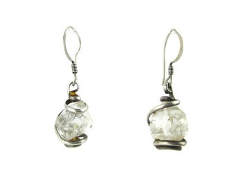 Vintage Faceted Quartz Crystal Sterling Silver  Wrapped Earrings