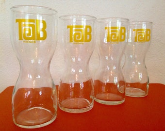 Set of 4 Vintage 1970's TAB Diet Cola Glasses - Retro Soda Pop Coca-Cola Advertising - Skinny Waist Tall Tumblers Drinkware
