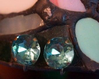 Vintage Screw Back Blue Rhinestone Earrings