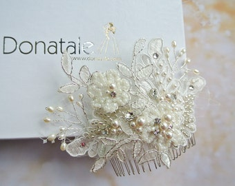 Ivory lace Bridal hair comb, Wedding Hair Piece, Wedding Hair comb, Lace  Bridal Headpiece, Bridal Hair Piece- MAIA