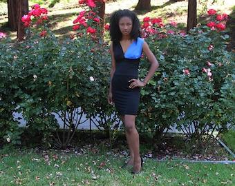 Black Blue Color Block Plunge Dress