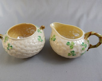 Lovely Vintage Belleek Shamrock Sugar and Creamer, Desirable Third Black Mark, Ireland
