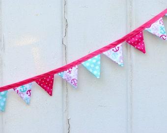 Nautical Pink Aqua Anchor Mini Pennant Banner