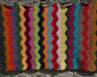 Belem : New handmade PURE WOOL crocheted afghan blanket with chevrons, multicolored stripes.