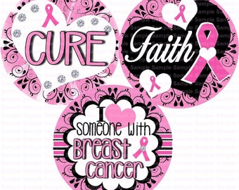 Breast Cancer Awareness (16) Bottle Cap Images 4x6 Bottlecap Collage Scrapbooking Jewelry Hairbow Center