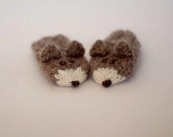 Newborn fox mittens - Knitted Newborn wool mittens - Knitted natural beige baby wool gloves - Playful baby mittens - Baby gift