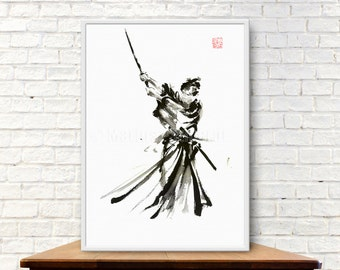 Tameshigiri, Samurai Warrior, Japanese Katana, Samurai Sword, Ink Painting, Abstract Art, Surreal Painting