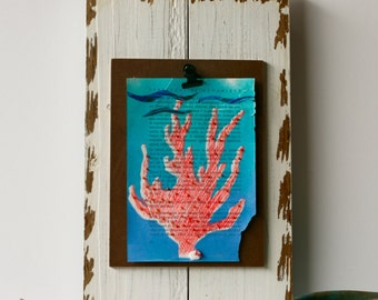 This One Has a Name  the Coral Does Not, Bead-Embellished, Coral Monoprint