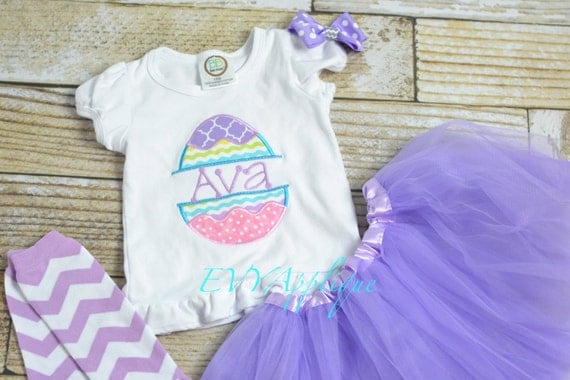 Girls Easter Outfit or Shirt personalized, personalized girls Easter outfit, Embroidered girls Easter Shirt with name, easter egg design