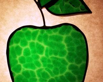 Vintage Stained Glass Green Apple Suncatcher