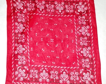 Vintage Red Bandana Made in JAPAN (014) rockabilly