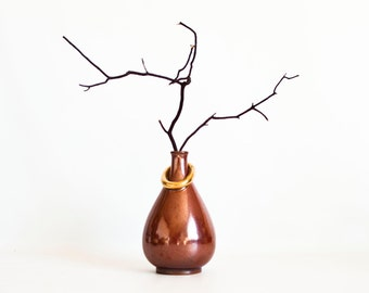 Vintage Unique Japanese Bud Vase, Minimalist Modern Pottery Made in Japan, Mid Century Decor